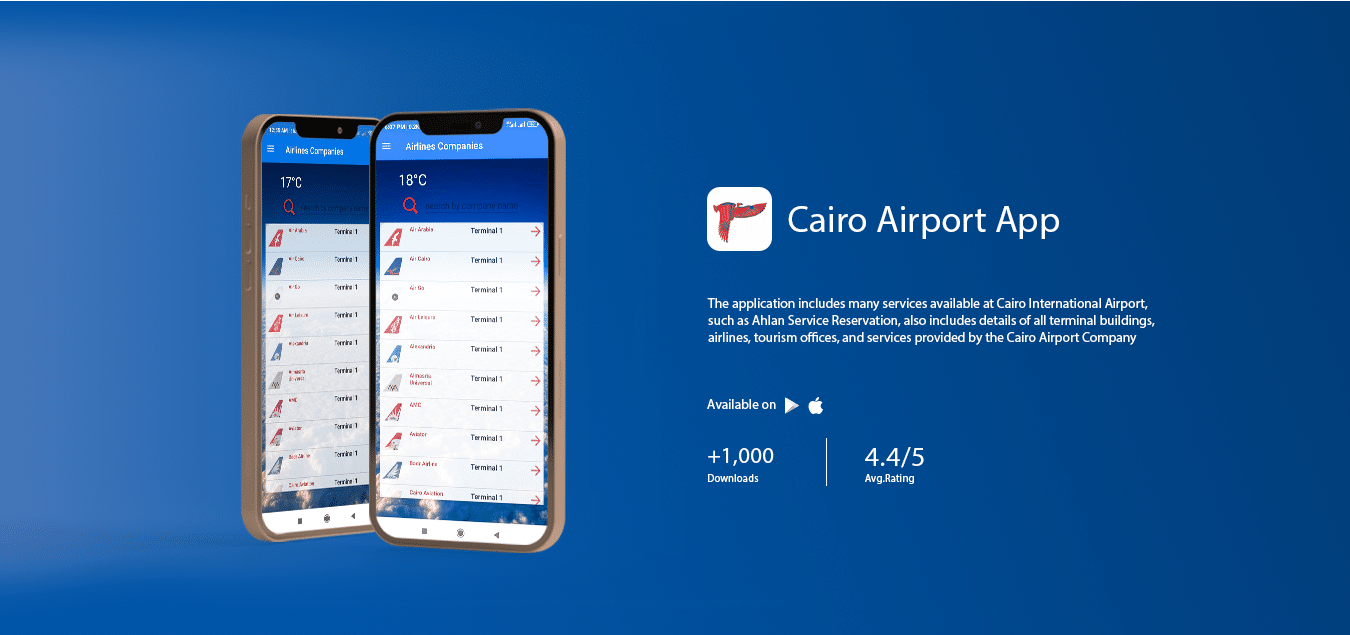 The application includes many services available at Cairo International Airport, such as Ahlan Service Reservation, also includes details of all terminal buildings, airlines, tourism offices, and services provided by the Cairo Airport Company